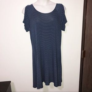 City streets striped cold shoulder dress SIze XL